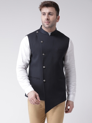 Blue plain cotton poly  nehru jacket