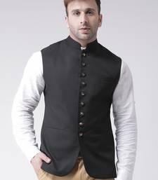 Black plain cotton poly  nehru jacket