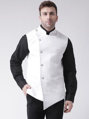 White plain cotton poly  nehru jacket