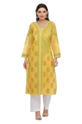 Ada Hand embroidered yellow cotton chikankari kurtis