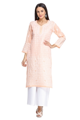 Ada Hand Embroidered peach cotton chikankari kurtis
