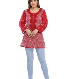 Maroon embroidered cotton chikankari Short kurti
