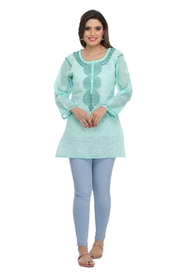 Sea Green Embroidered Cotton Chikankari Short Kurti