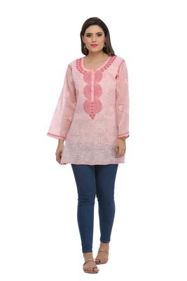 Peach embroidered cotton chikankari Short kurti
