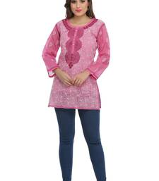 Onion pink embroidered cotton chikankari Short kurti