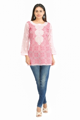 Pink embroidered cotton chikankari Short kurti