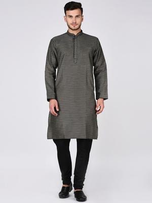 Black Plain Silk Blend Kurta Pajama