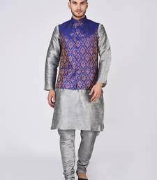 Grey woven silk blend kurta pajama