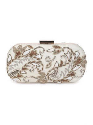 Offwhite embroidered clutch