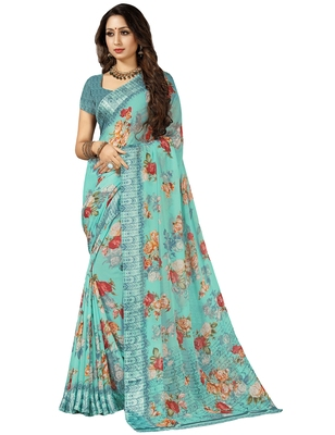 Turquoise printed chiffon saree with blouse