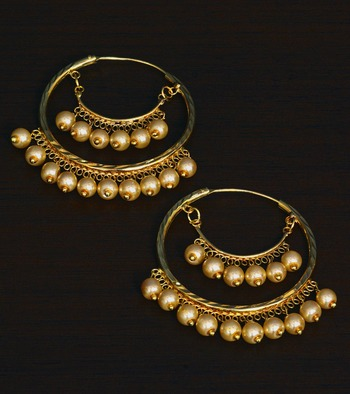 Gold Plated Traditional Styled SunShine Pearled Hoops for Women