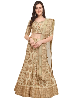 Lemon Embroidered  Satin Semi Stitched Lehenga With Dupatta
