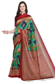 682fb16f9f Multicolor printed art silk saree with blouse