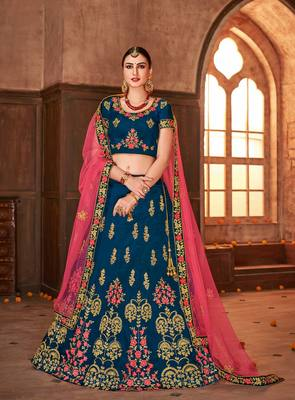 Blue embroidered silk semi stitched lehenga with dupatta