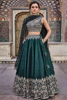 41d1c8fd96c6f Green embroidered silk semi stitched lehenga with dupatta. Shop Now