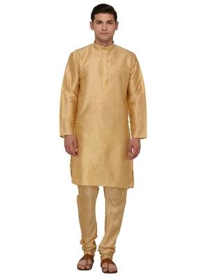 Gold Plain Dupion Silk Kurta Pajama