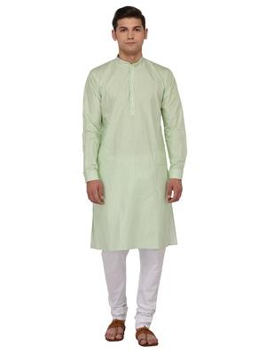 Green Printed Cotton Kurta Pajama