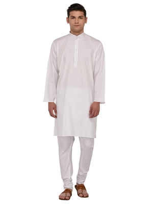 White Plain Cotton Kurta Pajama