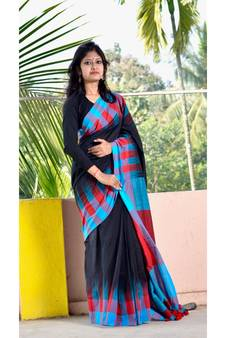 9e1739d5437d2 Black hand woven pure cotton saree with blouse