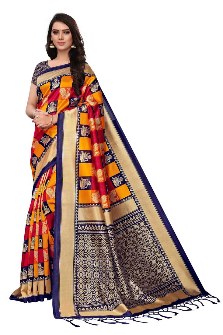 07795c958a80b Multicolor printed silk blend saree with blouse - Rajnandini - 2851737