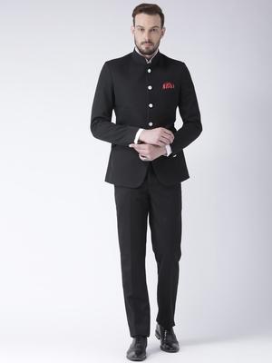 Black plain polyester bandhgala  suit