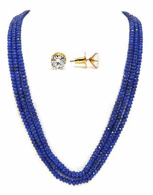Blue Color Semi Precious Women Onyx Necklace Sets
