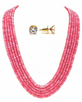 Pink onyx multilayer women necklace-sets