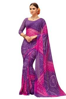 dbc13ff5c8789 Purple printed chiffon saree with blouse
