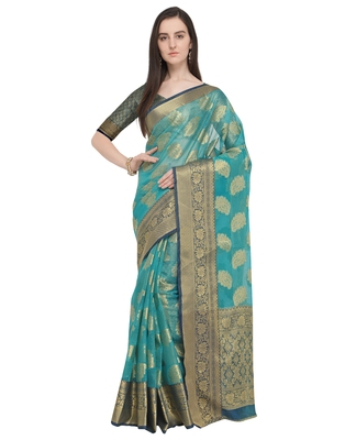 Turquoise woven organza saree with blouse