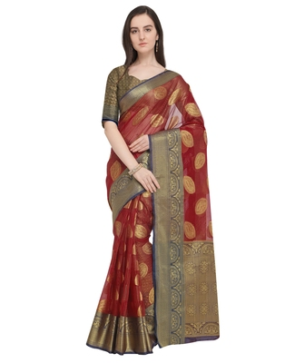 Red woven organza saree with blouse