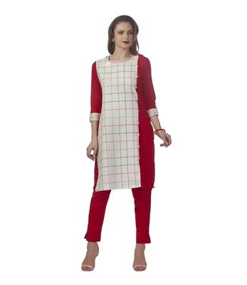 Red plain cotton kurti