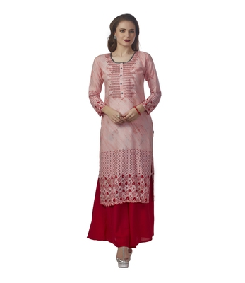 c0b2f981b28 Pink embroidered rayon kurti - Anora - 2851196