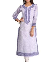 Mauve embroidered cotton chikankari-kurtis