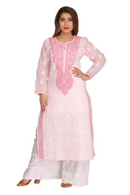 Pink embroidered cotton chikankari-kurtis