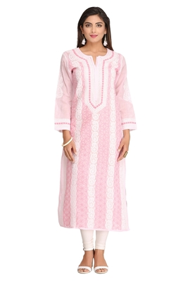 Pink embroidered cotton chikankari-kurtis