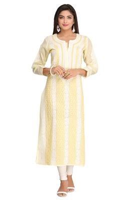Yellow embroidered cotton chikankari-kurtis