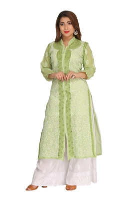 Green Embroidered Cotton Chikankari Kurti