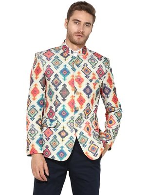 Multicolor Printed Polyester Bandhgala Suit