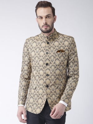 Beige printed polyester bandhgala suit