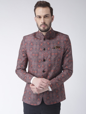 Brown printed polyester bandhgala suit