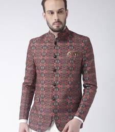 Brown Printed Polyester Bandhgala Suit