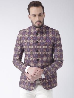 Purple printed polyester bandhgala suit