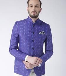 Blue printed polyester bandhgala suit