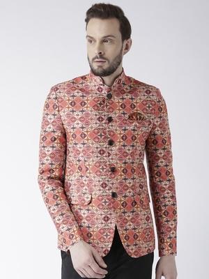 Orange printed polyester bandhgala suit