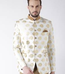 White Woven Polyester Bandhgala Suit