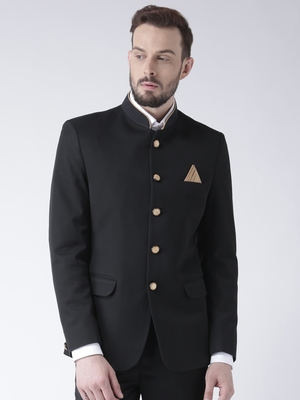 Black plain polyester bandhgala suit