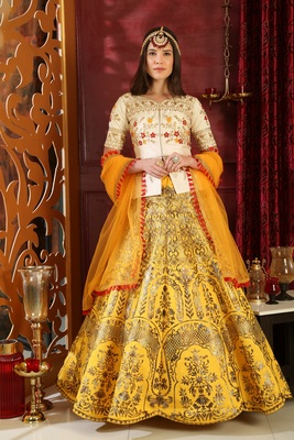 Yellow embroidered silk unstitched lehenga with dupatta
