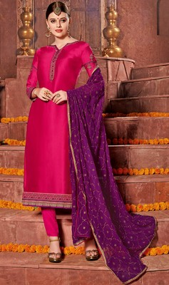 Pink embroidered georgette salwar with dupatta