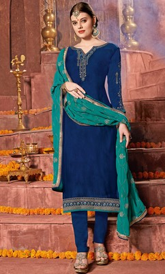 Blue embroidered georgette salwar with dupatta