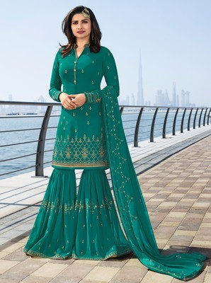 Sky-blue embroidered georgette salwar with dupatta